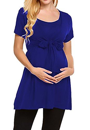 fashion Ragazza Blu Magliette Girocollo Allattamento Premaman Solido Taglie Donna da HX Forti T Manica Incinta Chic Corta Gravidanza Elegante Abbigliamento Shirt Estivi d6xqwn