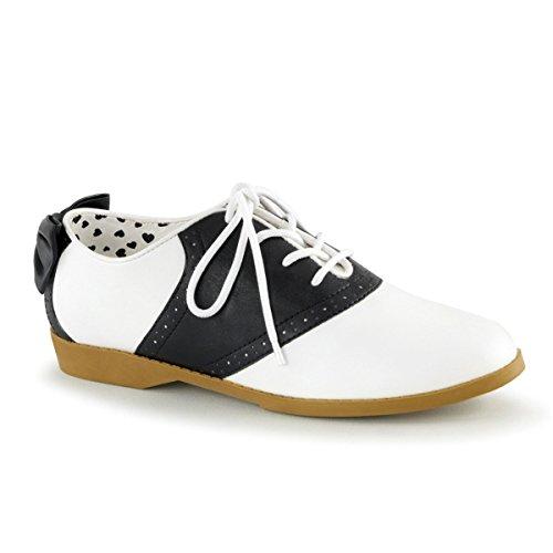 Funtasma SADDLE-53 Women 3/4 Heel, Front Lace up Saddle Shoes W/Back Bow, Blk-WHT PU, Size -