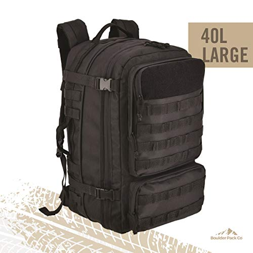 Large (40L) Durable Tactical Backpack Bag with Rain Cover, Expandable Size and Water Bladder Compartment