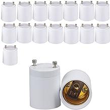 SooFoo 15-pack GU24 to E26/E27 Lamp Socket Adapters,standard medium size Bulb Adapter Socket Converter,Heat Resistant,Retardant and Safe (15 Pack)