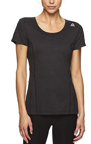 Reebok Women's Dynamic Fitted Performance Short Sleeve T-Shirt - Black Medium Heather, Large