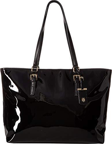(Tommy Hilfiger Women's Julia Patent Tote Black One Size)