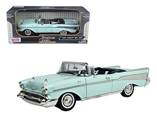 Motormax 73175 1957 Chevrolet Bel Air Convertible Green 1/18 Diecast Model Car ()