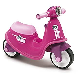 Smoby Pink Kids Scooter Stylish Toddler Ride On with Mechanical Key, Toy Box and Front Light, Ages 18+ Months