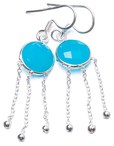 Chalcedony Link Earrings - Natural Chalcedony Handmade Unique 925 Sterling Silver Earrings 2