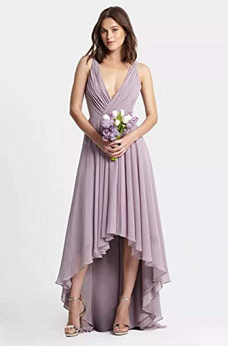 Sleeveless Line V Low Neck Evening Sky Bridesmaid Prom Party Dress A Chiffon Blue High Dresses Changuan 5xnHqTOEwW
