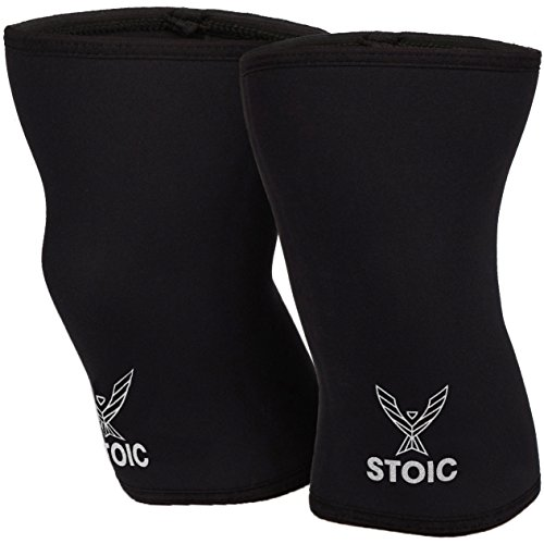 Stoic Knee Sleeves for Powerlifting - 7mm Thick Neoprene Sleeve for Bodybuilding, Weight Lifting Best for Squats, Cross Training, Strongman Professional Quality & Ultra Heavy Duty (Pair) (Small)