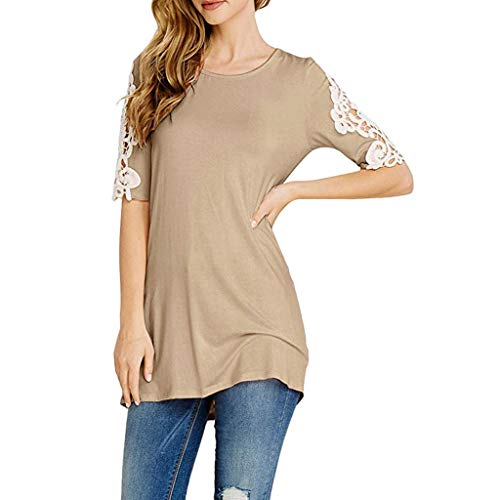 - Kiminana ❤️ Womens Spring Short Sleeve O Neck Lace Patchwork T Shirt Pullover Tops Blouses