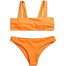 PENATE Women Sexy Bikini Swimwear Set 2 Pcs Solid Color Tube Top Bandage Padded Bathing Swimsuit Beachwear