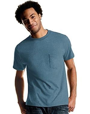 Men's Tagless ComfortSoft Dyed Crewneck Pocket T-Shirt 4-Pack