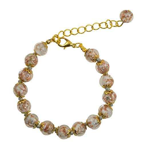 Just Give Me Jewels Genuine Venice Murano Sommerso Aventurina Glass Bead Strand Bracelet in Gray, 8+1