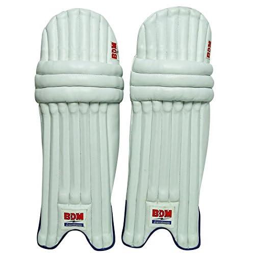 BDM Armstrong Blanc Hommes Batting Pads Droitier cuir PU Cricket Leg Guard