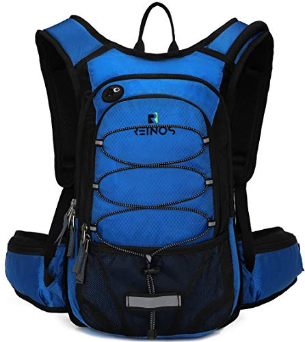 REINOS Hydration Backpack with 2L Bladder for Men & Women, Daypack with Thermal Insulation | Great for Hiking, Running, Cycling, Camping, Skiing, Outdoor Activities (Blue)