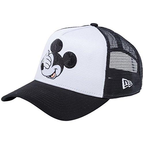 [ニューエラ]×ディズニー 940キャップ スナップバック エーフレームトラッカー ミッキーマウス シークインド 11781439 ホワイト メッシュ ピーチ ブラック