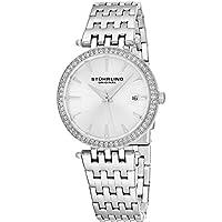 Stuhrling Original Women's 579.01 Soiree Swiss Quartz Swarovski Crystals Date Silver-Tone Watch
