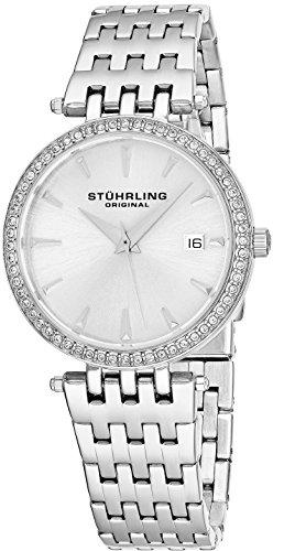 Stuhrling Original Women's 579.01 Soiree Swiss Quartz Swarovski Crystals Date Watch (Silver) (Link Geneva Bracelet Watch)