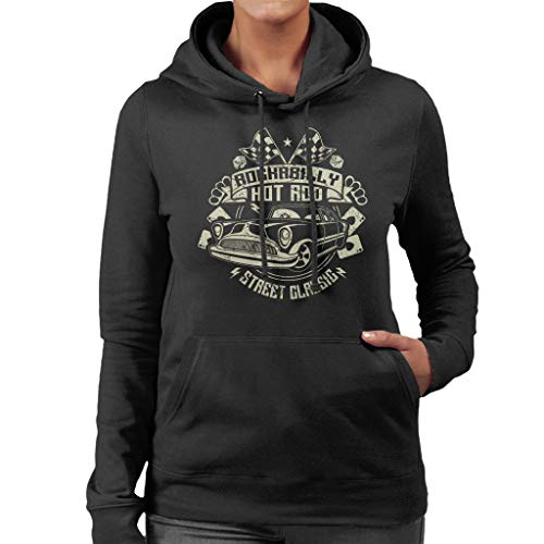 Classic Sweatshirt Women's Car Black Hotrod Hooded Rockabilly 5qwAx4pZx