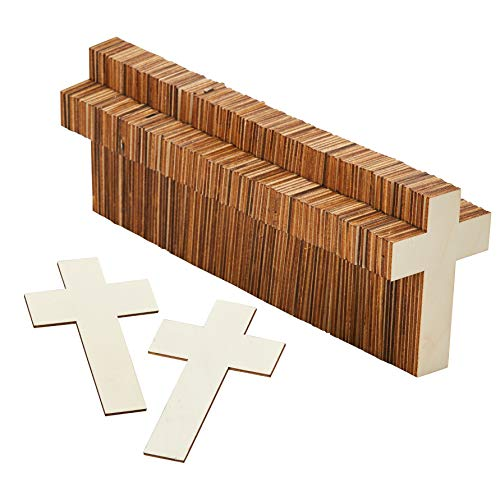 Unfinished Wood Cutout - 100-Pack Classic Cross Shaped Wood Pieces for Wooden Craft DIY Projects, Sunday School, Church, Home Decoration, 4.1 x 2.6 x 0.1 Inches