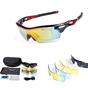 Polarized Sports Sunglasses for Men Women Cycling Running Driving Fishing Golf Baseball with Tr90 Unbreakable Frame,7 Interchangeable Lenses … (New Black)