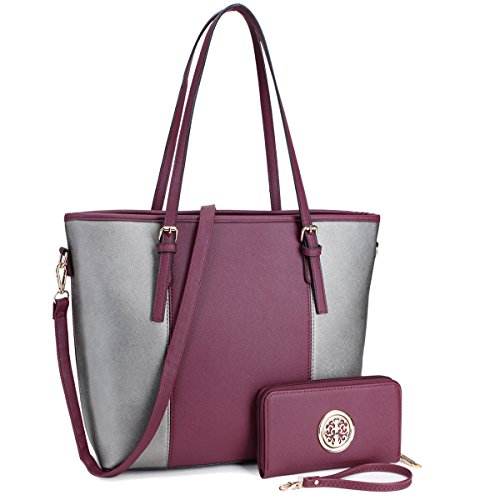 Fashion Women Signature Designer Tote Satchel Handbag Purse with Matching Wallet(33170W-PP/PT)