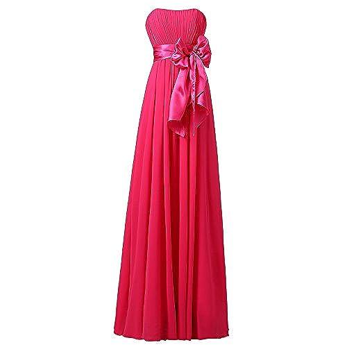 Ouman Sweetheart Bridesmaid Chiffon Prom Dresses Long Evening Gowns Fucshsia XL