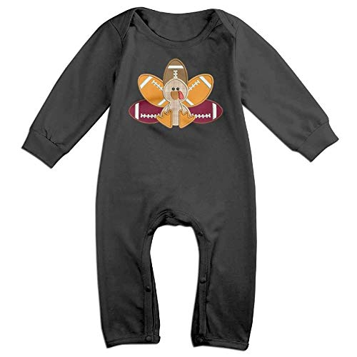 - TYLER DEAN Baby Boy Long Sleeved Coveralls Turkey Pilgrim and Football Baby Clothes Black