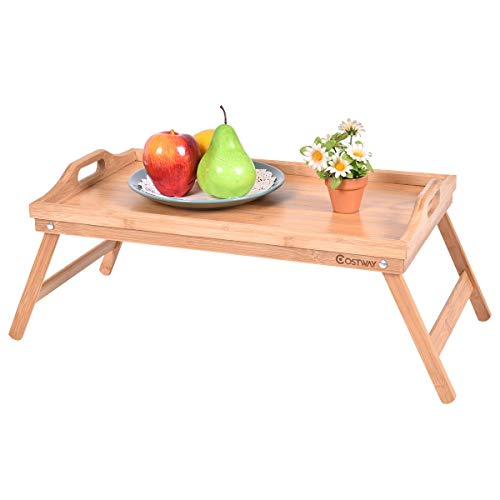 Costway Bamboo Laptop Desk Table Portable Breakfast Serving Bed Tray Folding Leg With Handle (Bamboo)
