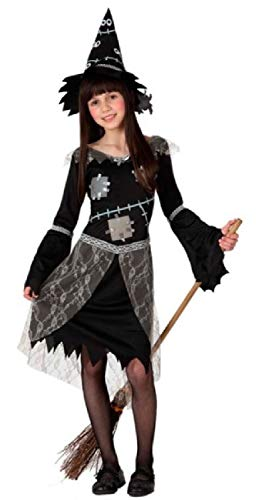 (Girls Black Grey Patchwork Witch Spooky Halloween Carnival Book Day Fancy Dress Costume Outfit 3-12 Years (5-6 Years))