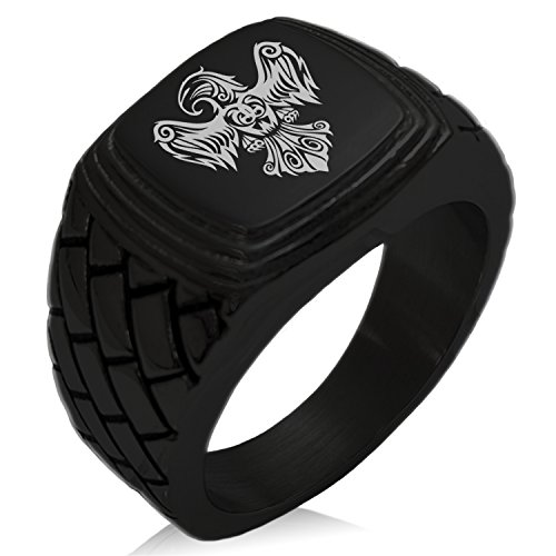 (Tioneer Black IP Plated Stainless Steel Aztec Power Strength Courage Rune Engraved Geometric Pattern Step-Down Biker Style Polished Ring, Size 13)