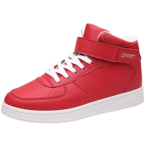 Enmayer Donna Pu Materiale Cross-tied Scarpe Sportive Punta Rotonda Donna Stringate Scarpe Sneaker Red3