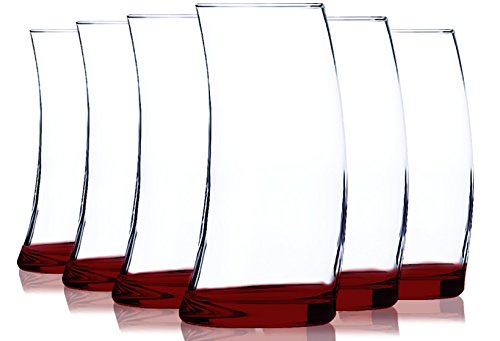 (Libbey Red Cooler Glasses with Colored Accent - 16.75 oz. Set of 6- Additional Vibrant Colors Available by TableTop King)
