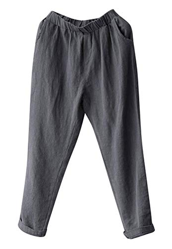 Soojun Womens Cotton Linen Loose Fit Elastic Waist Harm Pant, Grey, X-Small Petite
