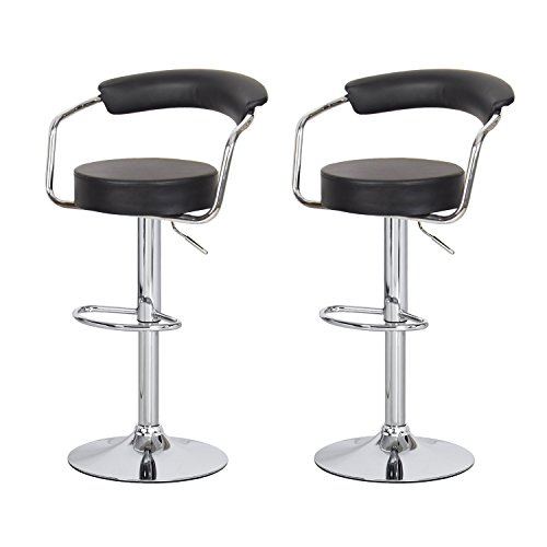 Asense Black Swivel Leathrette Mordern Adjustable Barstool Chair with Back(set of Two) - Norwood Brown Cherry