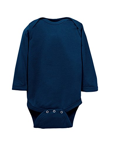Rabbit Skins 100% Cotton Infant Baby Long Sleeve Bodysuit [Size 6 Months] Navy Blue Long Sleeve Onesie