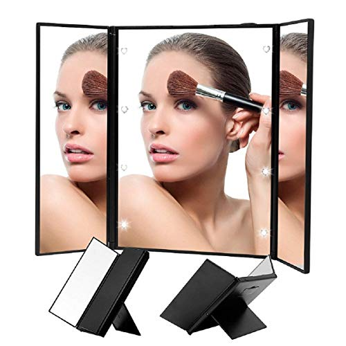 Liuy Makeup Mirror With Lights, 8 LED Vanity Mirror, Lighted Makeup Mirror Touch Screen Switch Tri-Fold Makeup Mirror Portable Mirror With Light Black Mirror