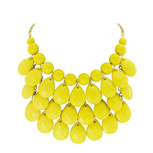 JANE STONE Fashion Bubble Layered Necklace Floating Teardrop Collar Statement Jewelry for Women(Fn0580-Yellow)