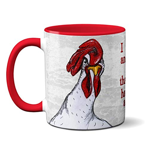 Chicken Meeting Red Mug by Pithitude - One Single 11oz Red Coffee Cup