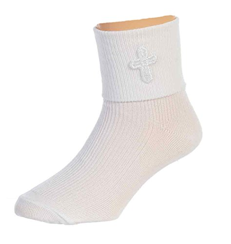 Boys White First Communion Baptism Special Occasion Socks with Cross 6-8yr -