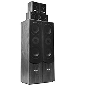 SkyTronic Home Cinema System 5.0 – Power of 335 W RMS, Pack of 5 Speakers, Black Wood Colour, Ideal for Home Cinema or HiFi Sound