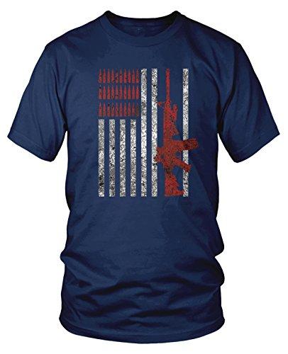 Amdesco Men's American Flag with AR15 AR-15 and Bullets T-Shirt, Navy Blue Medium