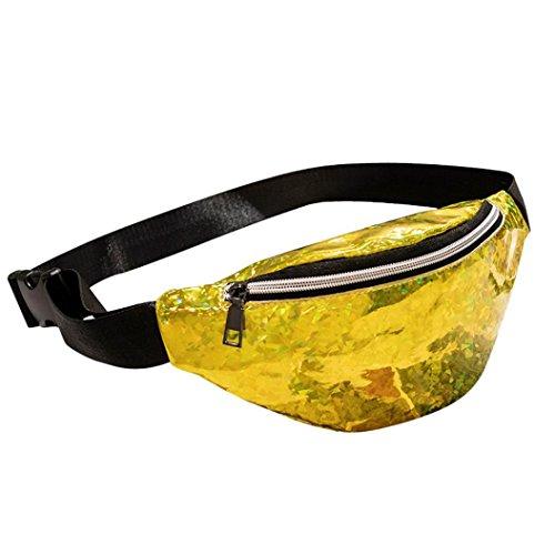 Gucci Drawstring - Sujing Laser Waist Pack Casual Outdoor Sports Waist Bag Crossbody Bag Chest Bag Shoulder Bag (Yellow)