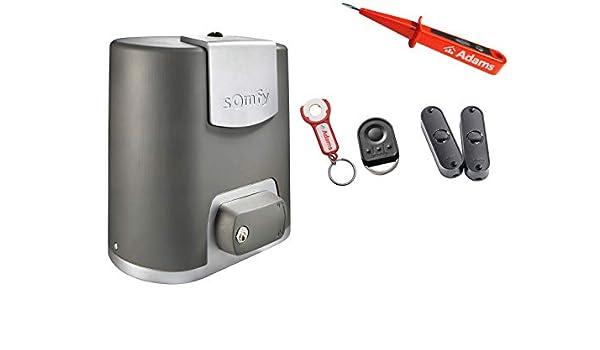 Somfy Elixo 500 3S RTS - Sistema de puerta corredera + 1 mano KeyGo RTS - Colgante con ADAMS + pantalla de luz Master Pro BiTech Set EE Pack - Comprobador de corriente: Amazon.es: Bricolaje y herramientas