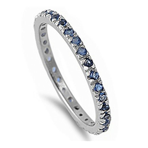 Blue Apple Co. 2MM Stackable Full Eternity Engagement Band Ring Round Simulated Sapphire 925 Sterling Silver
