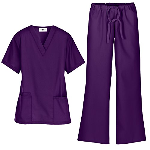 Women's Scrub Set/Medical V-Neck Top & Drawstring Scrub Pant (XS-3X, 7 Colors) (Small, Eggplant)