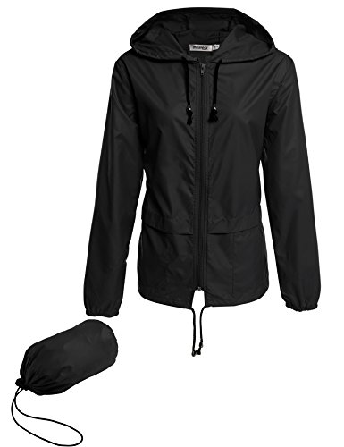 Meaneor Womens Rainwear Active Outdoor Hooded Cycling Packable and Lightweight Jacket, Black, Medium