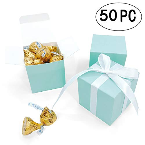 Turquoise Small Cube Candy Boxes Bulk Teal Blue Wedding Party Favors Gift Boxes Baby Bridal Shower Thank You Treat Candy Boxes Supplies, 2x2x2 inch, 50pc]()