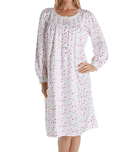 Eileen West Brushed Back Satin Long Sleeve Waltz Nightgown (5019941) M/White Rosebud -
