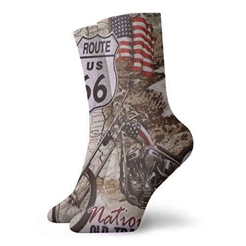 Women's Lightweight Active Crew Socks For Hiking/Running - Novelty Funny Casual Gift Dress Socks For Teens Girls Boys Kids - Southwest Vintage USA Motorcycle Route 66