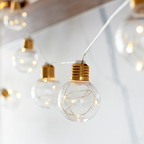 10 G60 Bulb Battery Operated LED Globe Lights with Brass Fittings for Indoor Outdoor Use ()