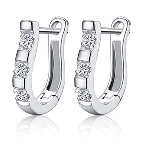 EIGA Womens Jewelry Silver-plated Rhinestones Earrings Pierced Ear Studs Harp Shape Gift